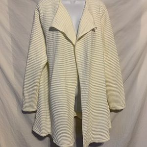 Talbots 2X ivory ribbed Open Draped  sweater 905a
